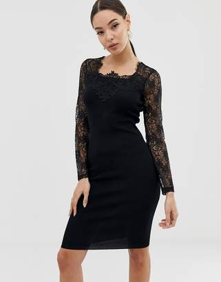 Lipsy lace sleeve bandage dress in black