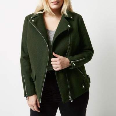 River IslandRiver Island Womens Plus khaki green wool blend aviator coat