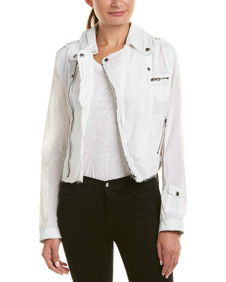 Jakett Josey Leather-Trim Linen Jacket