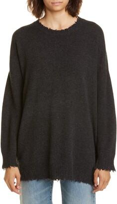 R 13 Distressed Cashmere Boyfriend Sweater