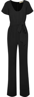 MICHAEL Michael Kors Belted Stretch-crepe Jumpsuit - Black