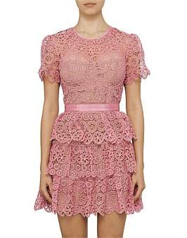 Self-Portrait Fuchsia Tiered Lace Short Sleeve Mini Dress