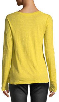 Vince Crewneck Long-Sleeve Slub Pima Cotton Top