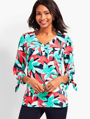 Talbots Tie-Sleeve Tropical Floral V-Neck Top