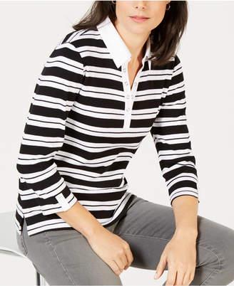 Karen Scott Petite Striped Collared Grommet Top