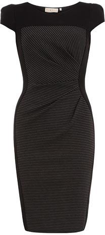 Dorothy Perkins Black and grey stripe ponte dress
