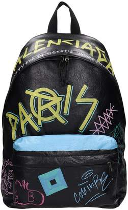 Balenciaga Black Leather Explorer Graffiti Backpack