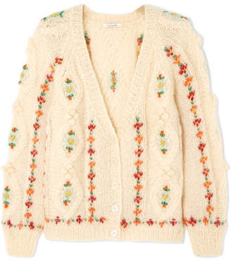 Mes Demoiselles Chelsea Embroidered Cable-knit Mohair-blend Cardigan - Cream