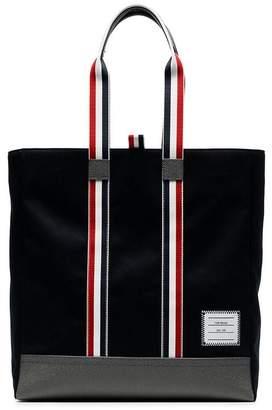 Thom Browne navy blue tricolour handle cotton tote bag