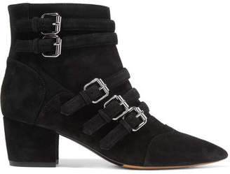 Christy Buckled Suede Ankle Boots - Black