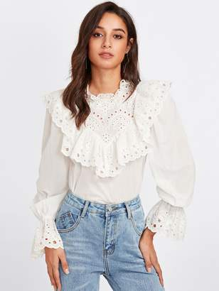 Shein Eyelet Embroidered Ruffle And Bell Cuff Blouse