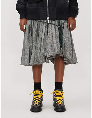 Sacai Houndstooth pleated wool-blend and cotton-blend skirt
