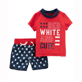 Carter's 4th Of July Star Rash Guard Set - Baby