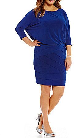 Adrianna Papell Adrianna Papell Plus Round Neck Dolman Sleeve Blouson Banded Dress