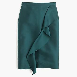 J.Crew Collection ruffle pencil skirt in double-faced satin