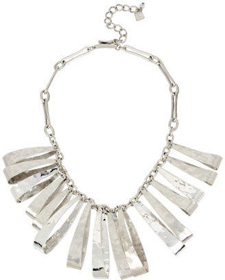 Robert Lee Morris SOHO Wired Warrior Silverplated Hammered Texture Sculptural Oval Bib Necklace