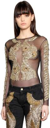 Couture Amen Embroidered Tulle Bodysuit