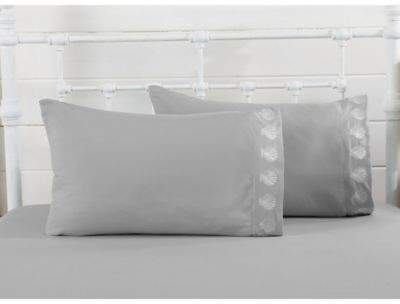 Great Bay Home Seascapes Scallop Shell Twin Sheet Set in Glacier Grey