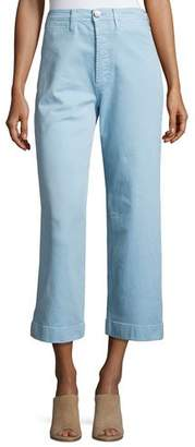 MiH Jeans Caron High-Rise Cropped Wide Leg Pants, Blue