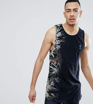Religion Longline Tank With Curved Hem And Fade Floral Print