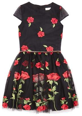 David Charles Girls' Rose Print Dress - Big Kid