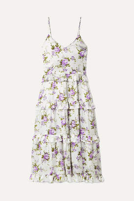 Les Rêveries - Ruffle-trimmed Tiered Floral-print Silk-charmeuse Maxi Dress - Ivory