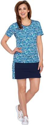 Denim & Co. Active Printed Top and Skort Set
