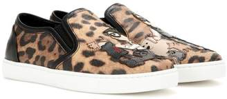 Dolce & Gabbana Printed leather slip-on sneakers
