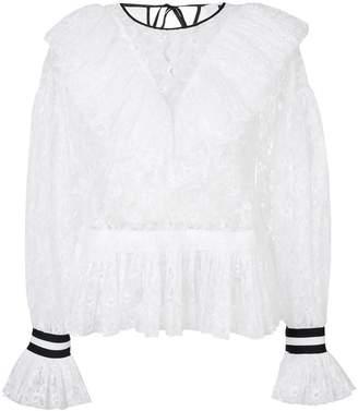 MSGM ruffled lace blouse