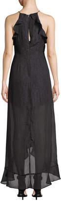 Astr Arielle Halter Ruffled Metallic Chiffon Maxi Dress