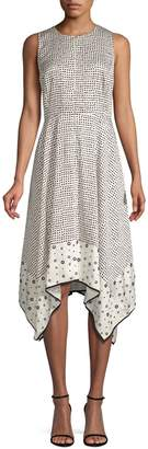 Donna Karan Crewneck Trapeze Polka Dot Dress