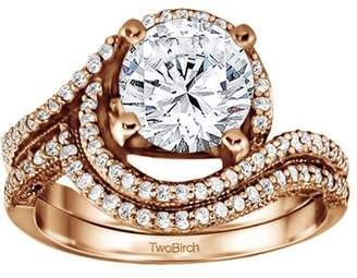 TwoBirch Bridal Set(engagment ring and matching band,2 rings) set in 10k Rose Gold With Diamonds (G,I2)(0.88tw)