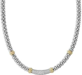 """Lagos 18K Gold & Sterling Silver Diamond Lux Single Station Necklace, 16"""""""