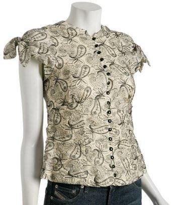 Nanette Lepore cream paisley embroidered 'Pompadour' top