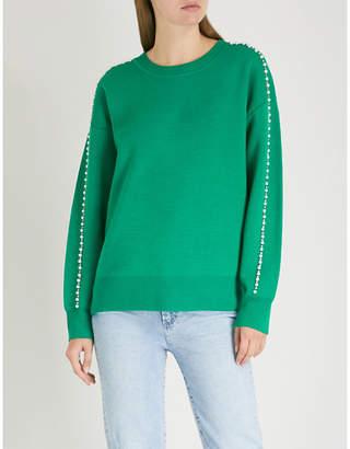 Sandro Embellished-trim knitted jumper