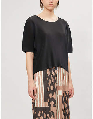 Pleats Please Issey Miyake Mist June boat-neck woven pleated top