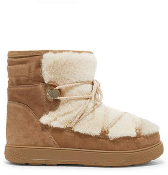 Moncler New Fanny Shearling-paneled Glittered Suede Snow Boots - Tan
