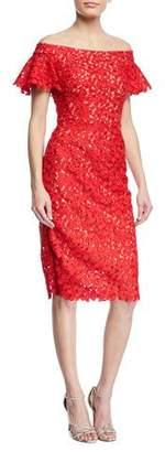 Jovani Lace Off-the-Shoulder Flutter-Sleeve Dress