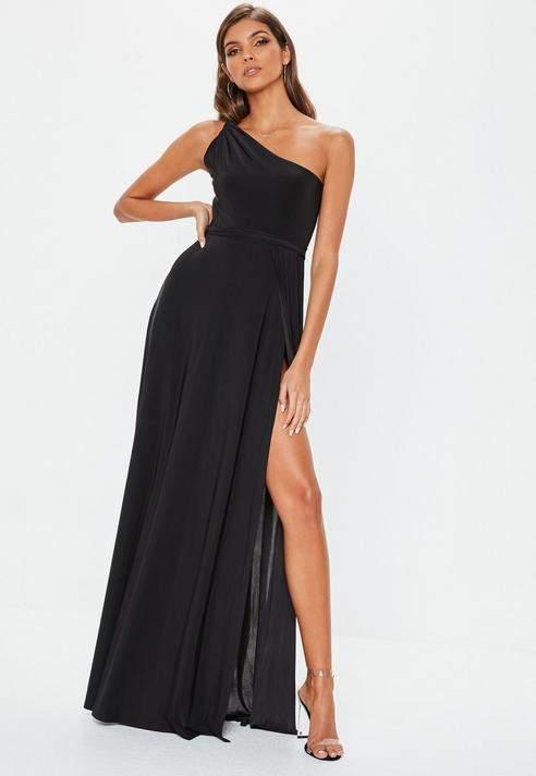 Black Twist Slinky Maxi Dress, Black