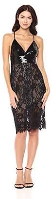 BCBGMAXAZRIA Azria Women's Elvita Knit Lace Dress with Sequined Bodice