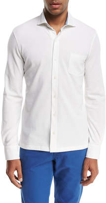 Isaia Pique Knit Long-Sleeve Oxford Shirt