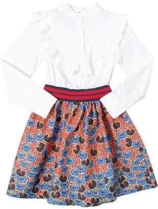 Stella Jean Cotton Poplin & Floral Twill Dress