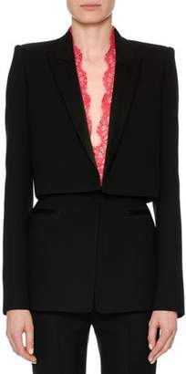 Alexander McQueen Long-Sleeve Wool-Silk Cocktail Jacket with Lace Inset
