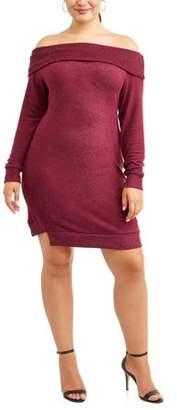 Cherokee Women's Plus Size Off Shoulder Brushed Cozy Knit Dress