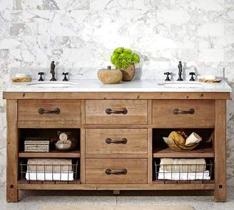 Pottery Barn Benchwright Reclaimed Wood Double Sink Vanity - Wax Pine Finish