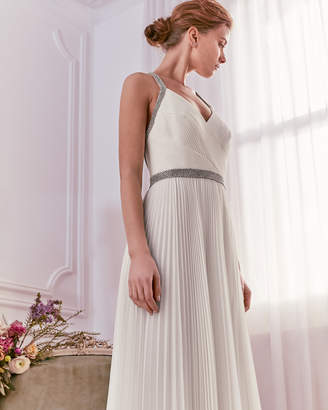 VERITYY Embellished pleated maxi dress