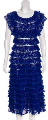 Oscar de la Renta Tiered Crotchet Dress