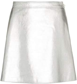 Moschino high waist a-line leather mini skirt