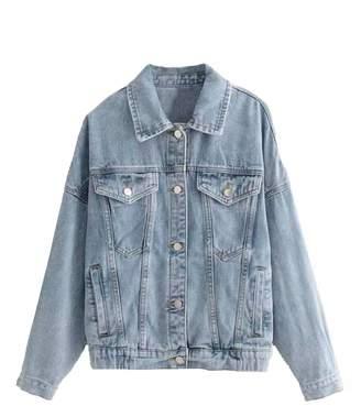 Goodnight Macaroon 'Arya' Light Wash Oversized Denim Jacket