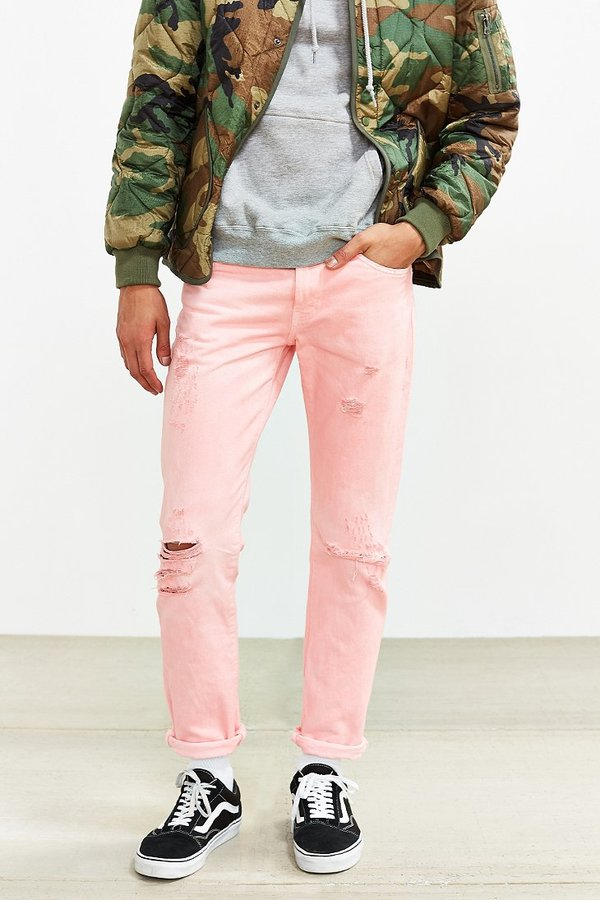 Levi's Overdyed Pink Destructed Levi's 511 Slim Jean